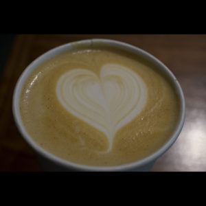 Latte with heart foam, Loma Brewing Co., photo by M. LaFreniere