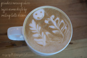smiley face latte at Crave Coffee Bar, Tucson, photo by M. LaFreniere, all rights reserved, Cactus Haiku
