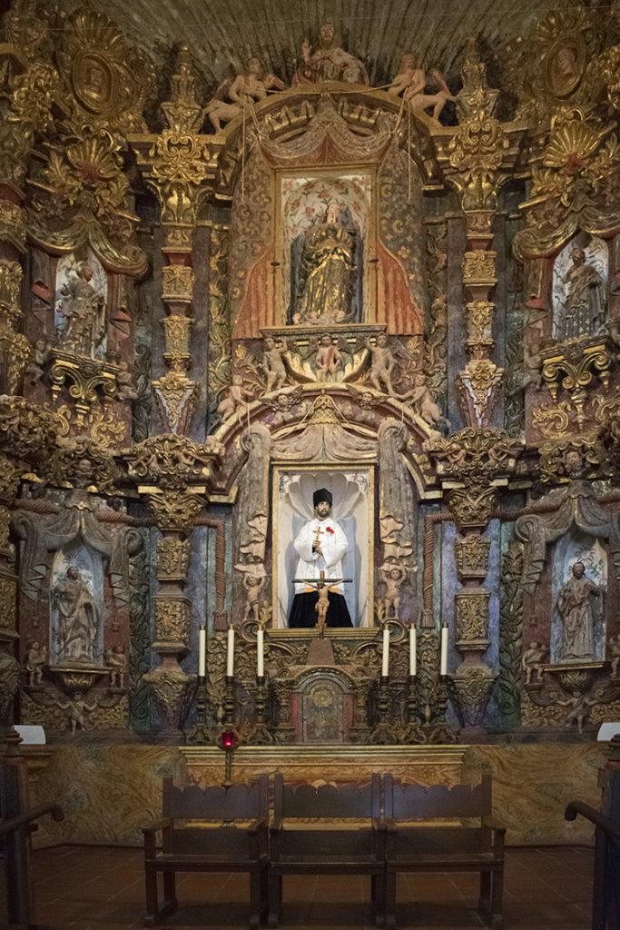 statue, Mission San Xavier del Bac interior detail, photo by M. LaFreniere, CactusHaiku