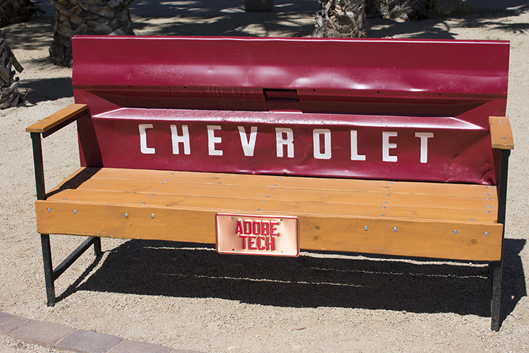 Chevrolet found art bench, Casa Grande Neon Sign Park, photo by M. LaFreniere, all rights reserved, Cactus Haiku