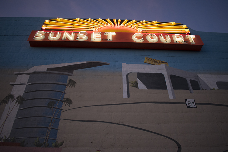 Sunset Court Neon Sign atop the Route 84 mural detail, photo by M. LaFreniere, all rights reserved, CactusHaiku