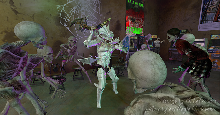 skeletons and zombie fighting in the video arcade